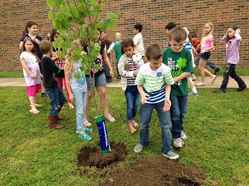 First grade students note Arbor Day